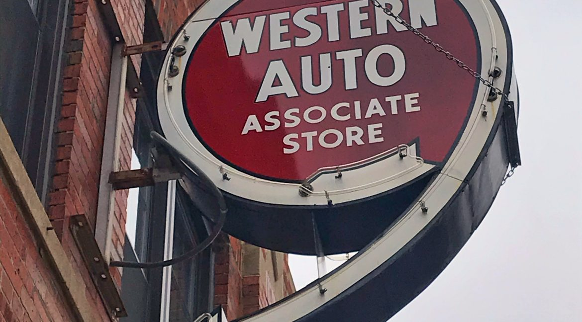 1801 Belle Plaine Western Auto Sign